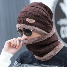 Wholesale Custom Men Warm Hats Cap Scarf Winter Wool Hat Knitting Beanie Hat Cap