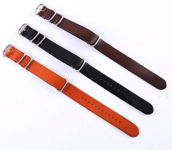 The first layer of cattle Zulu thick ring long band 18/20/22mm leather watch strap