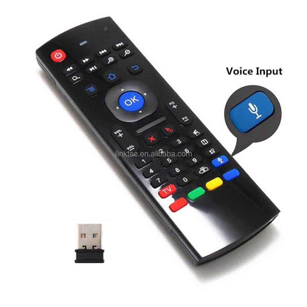 Air Mouse 2.4G Wireless Mini Keyboard Infrared IR Leaning Remote ControlとVoice InputためGoogle Android TV Box