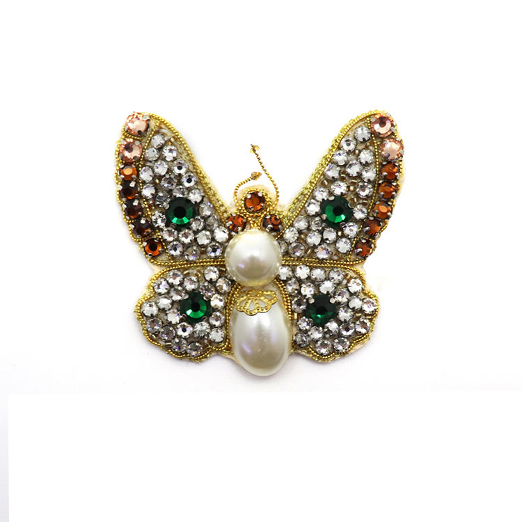 Beautiful butterfly logo rhinestone crystal embroidery applique patch for fashion clothing