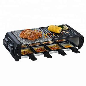 8-person raclette with granite stone and cast aluminum non stick teppanyaki barbeque grill plate set