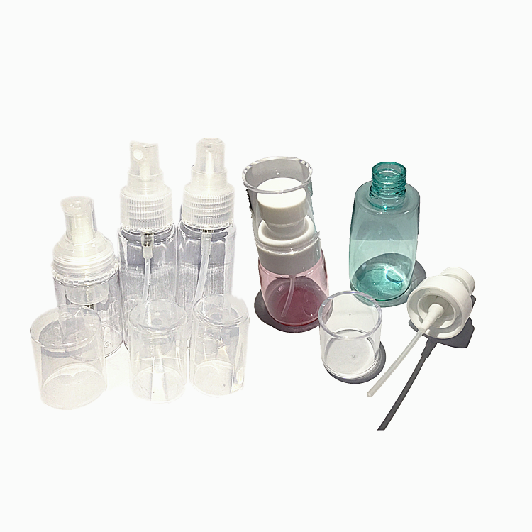 Custom spray aerosol gas juice manual tightener top tin end brush spout and mould bottle plastic cap