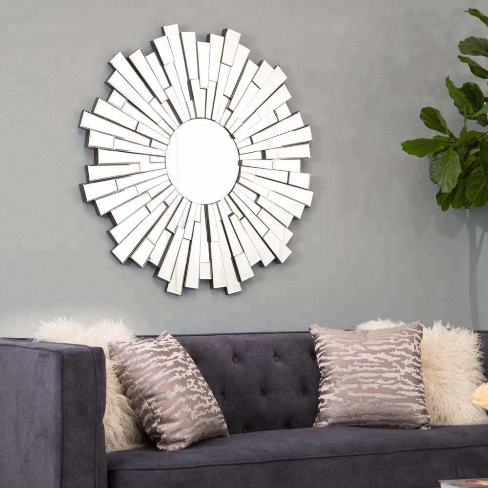 Sample Available Attractive Price wall mirrors decorative round mirror 3d silver sunburst