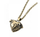 Old style antique heart locket bronze necklace