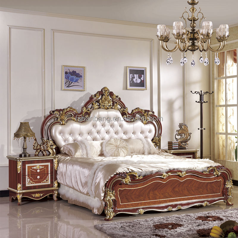 Роскошный Барочный Poster Canopy Коричневый Мягкий Искусственная Кожа Королева Двуспальная Кровать