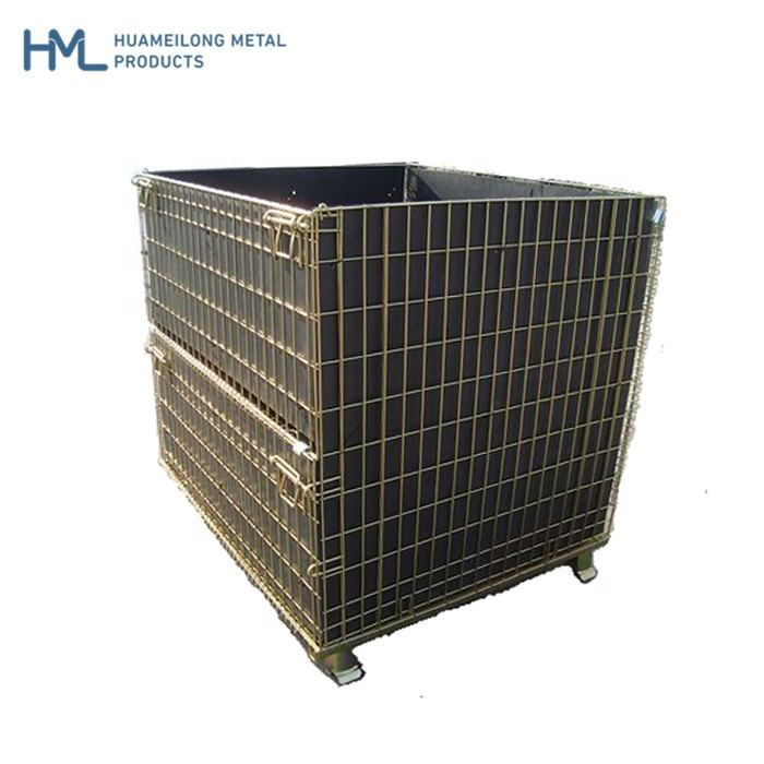 Hot dipped demountable durable bulk transport security grid wire mesh equipment storage cages box with castor