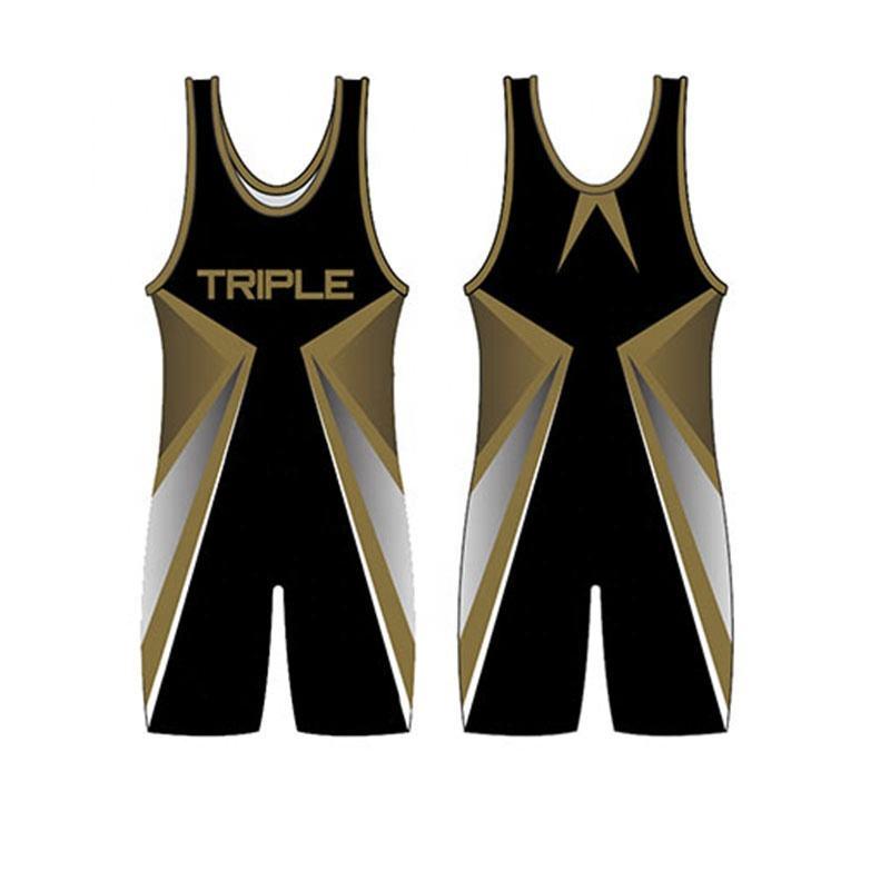 Design your own custom logo sublimation printing wrestling singlets