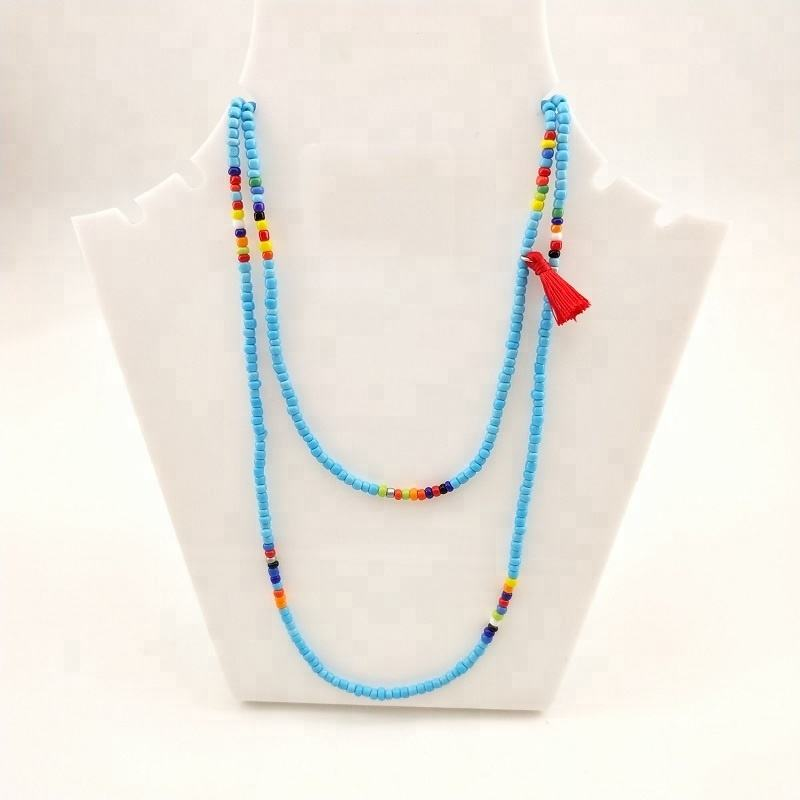 Bohemian Style Summer Beach Jewelry Blue Seed Bead Tassel Long Necklace