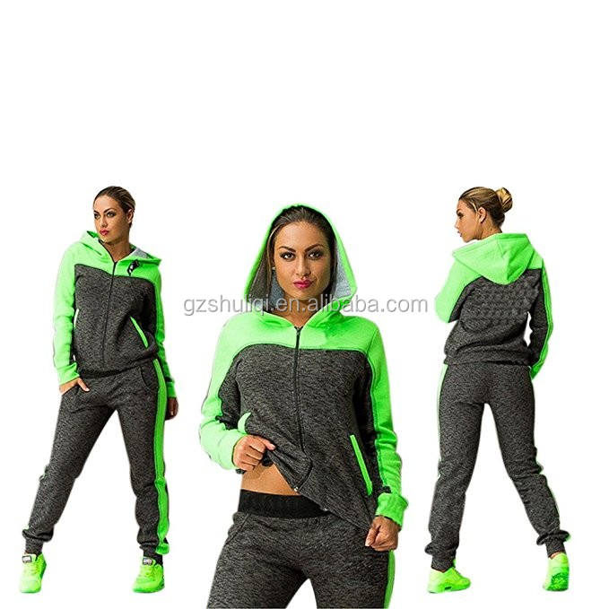 OEM factory light green girls tracksuit 100% cotton women gym wear custom sportswear with anti-static functions