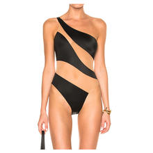 Wholesale custom high quality women contrast stretch mesh swimsuit one piece