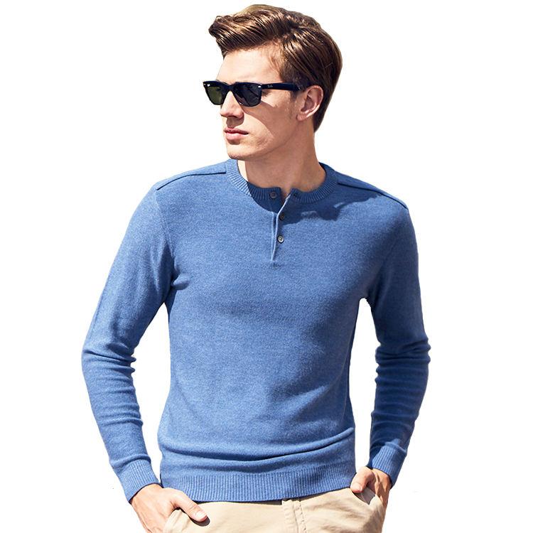 Merino Wool Cashmere Blend Knitted Mens Henley Sweater Shirt