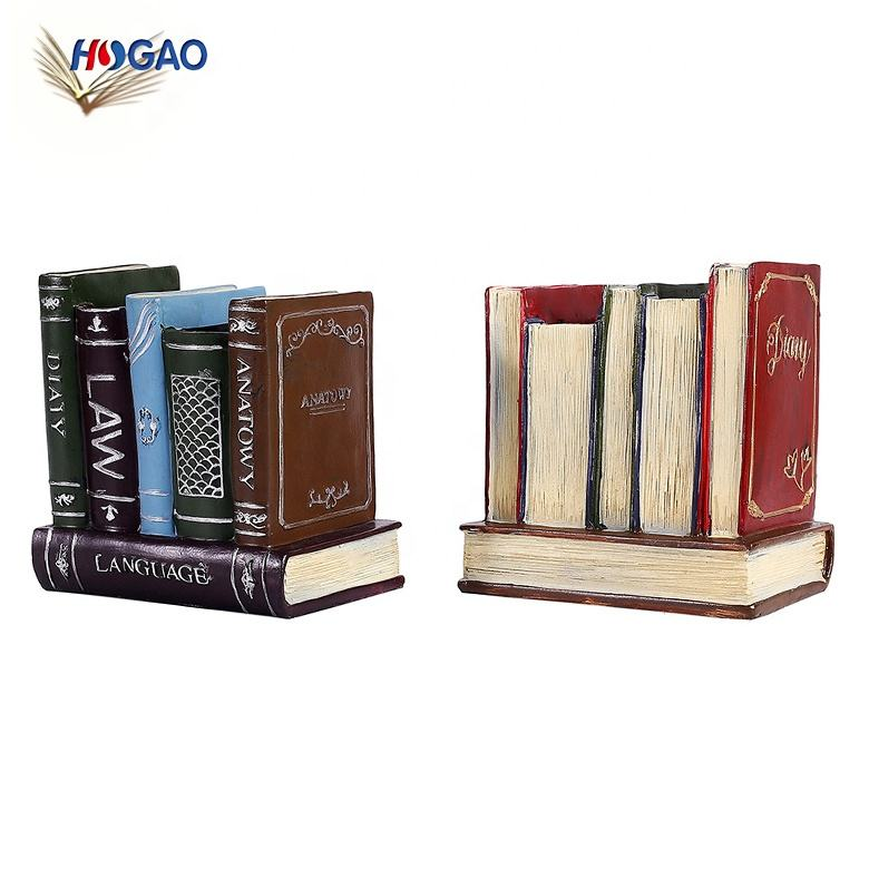 Nordic retro creative design book shape custom decorative desktop pen holder penholder for Desk Office Pencil Holders