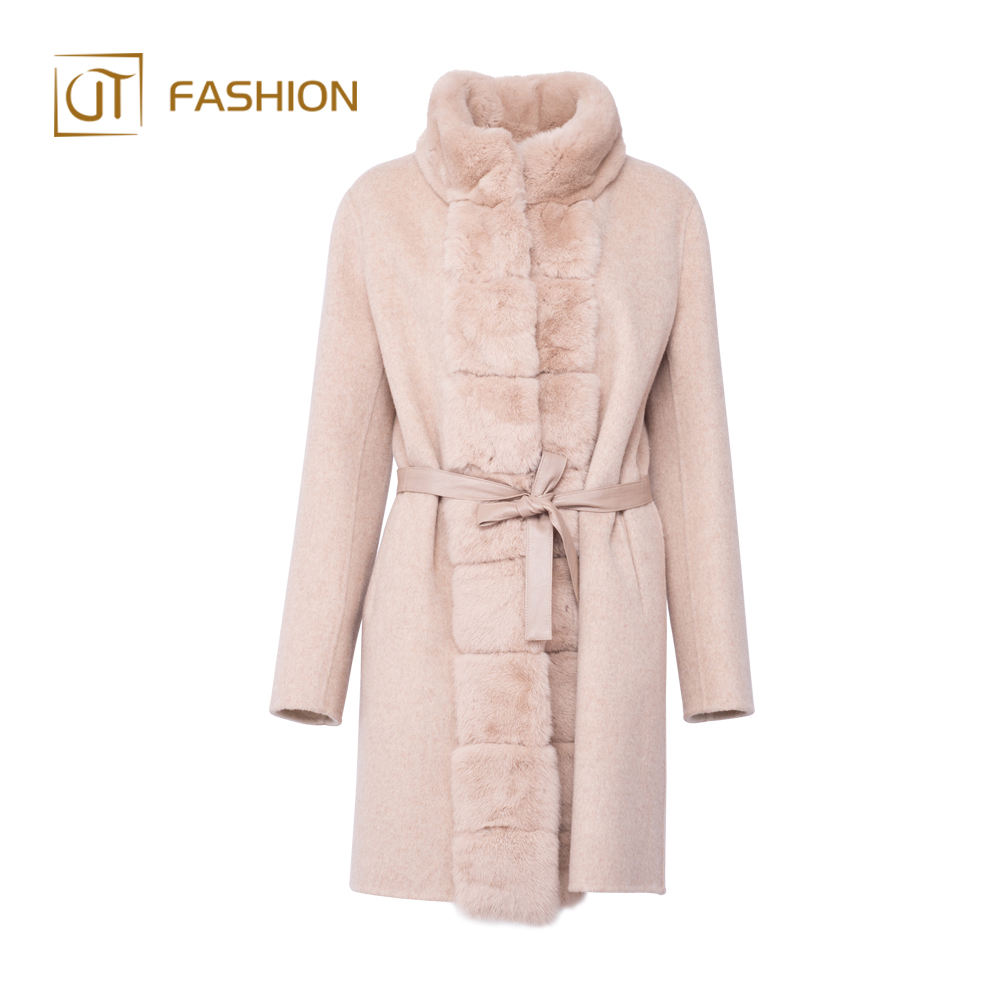 High Quality jtfur fashion rex rabbit fur collar ladies double face wool coat