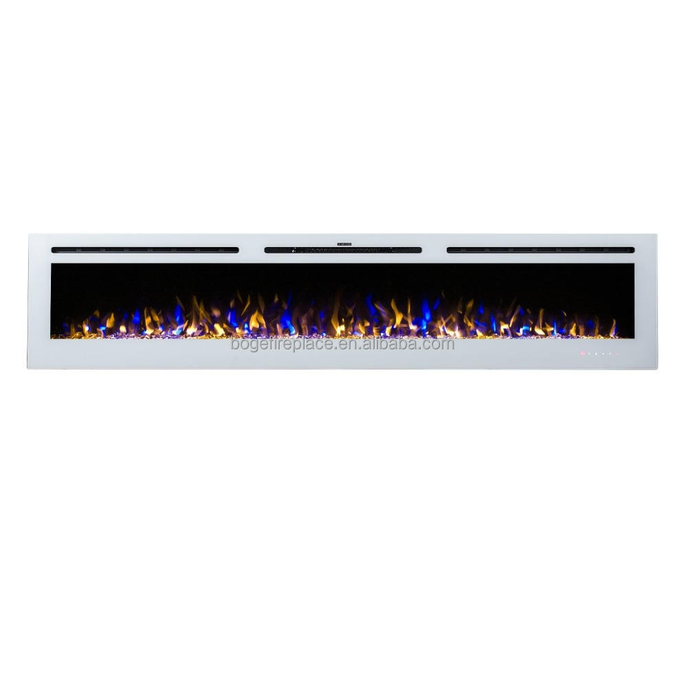 "2020 New Super Long 100"" White and Black Wall Mounted/Build-in Electric Fireplace"