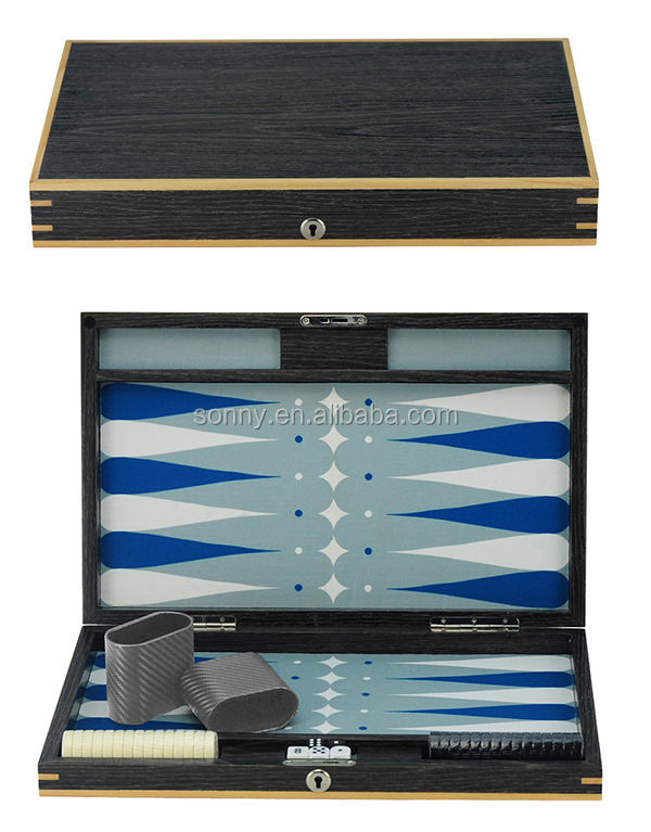 Private Custom Wooden Lacquer Backgammon with Chips and Dices Set