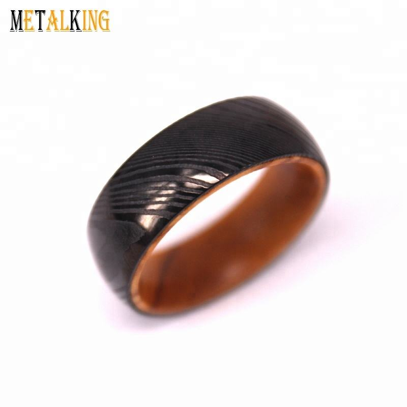8mm Domed Plated Black Damascus Steel Ring with Olive Wood Insert Comfort Fit