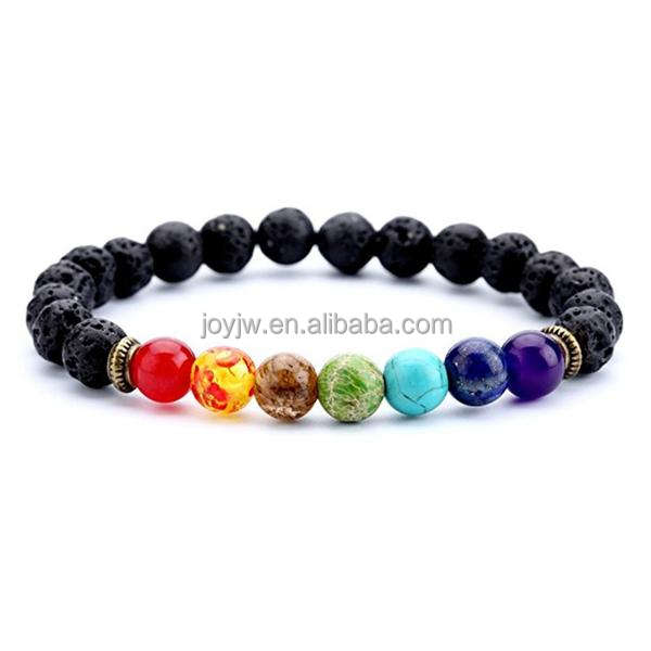 Unisex hot products 8 millimetri perline pietra lavica 7 chakra braccialetto
