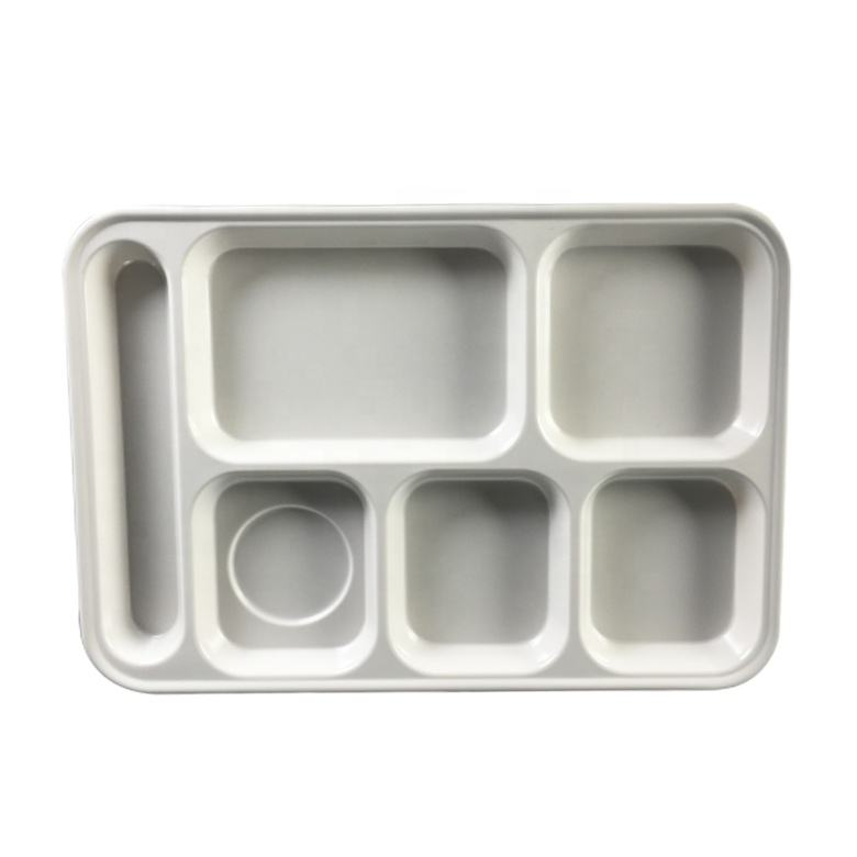 Cheap 6 compartment divided white melamine hospital food tray