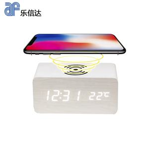 Digital Kayu Jam Alarm LED Digital Qi Wireless Charger untuk Ponsel