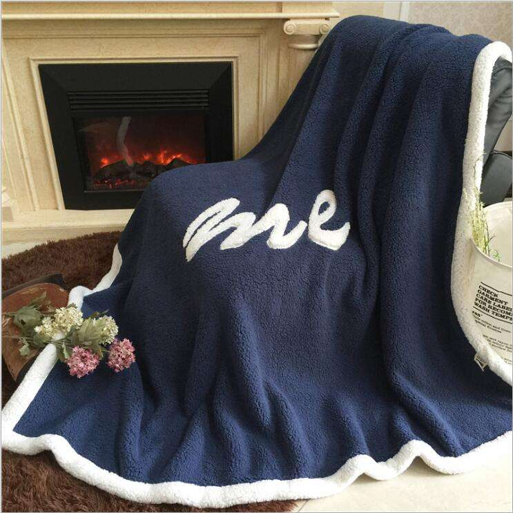 2018 New Design Fashion Style Polyester Material Knitted 2 Layers Super Soft Applique Sherpa Fleece Throw Blanket