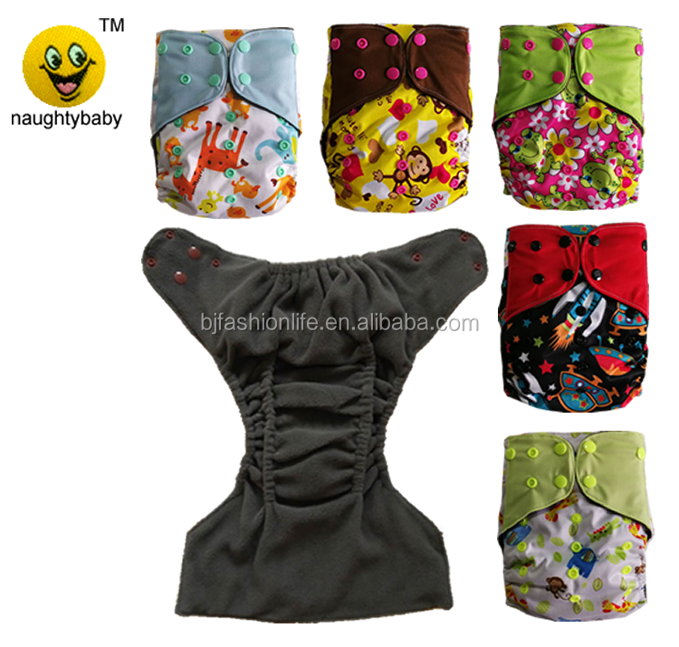 Wholesale Naughtybaby bamboo charcoal inner baby boy girl pocket cloth diaper one size reusable double gussets nappy cover