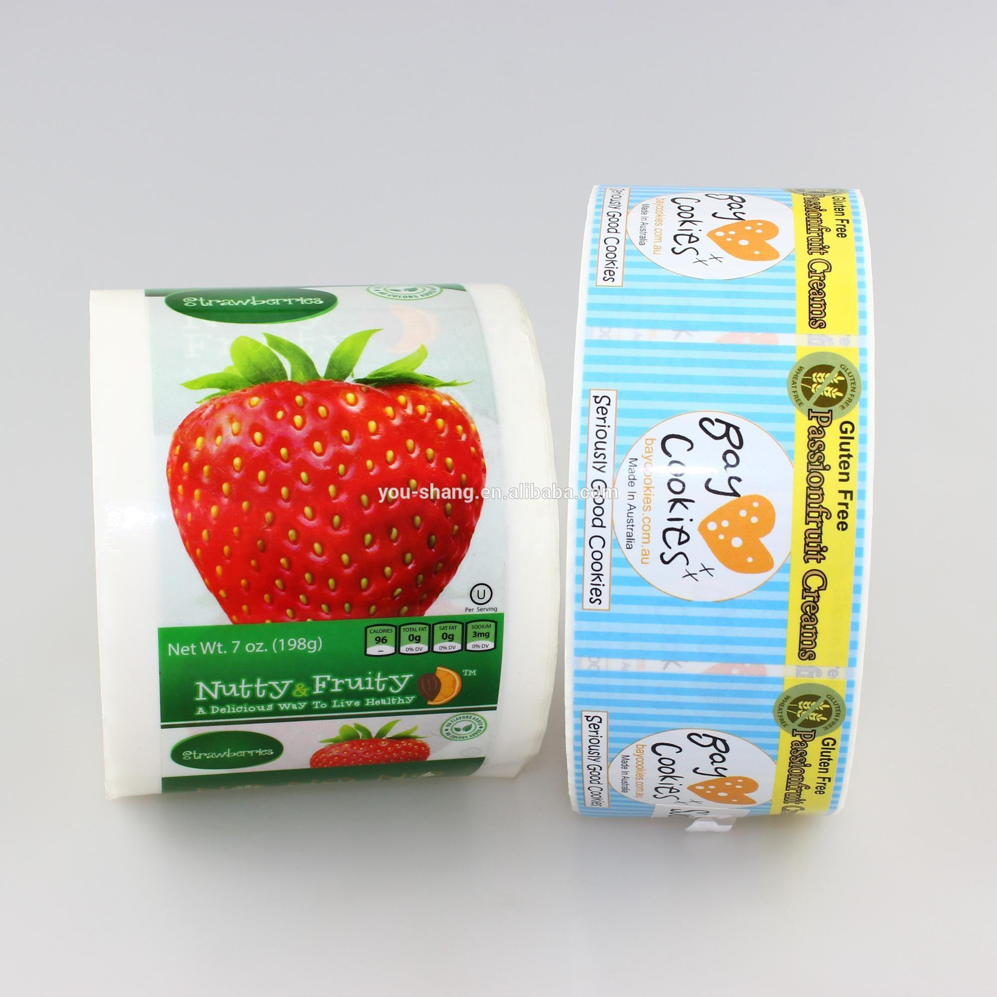 Custom adhesive waterproof and frozen safe food packaging label