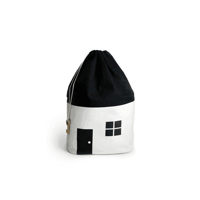 Ins new small house storage bag cotton canvas beam storage bag children black and white toy storage bag