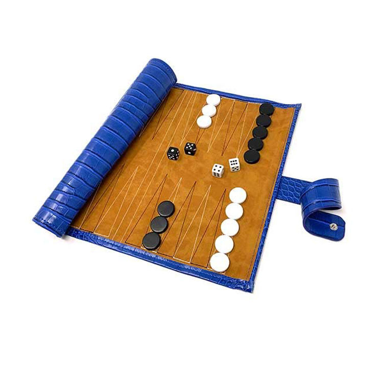 Portatile di Design Roll Up di Viaggio Backgammon Set Staccabile Blu Croco In Pelle