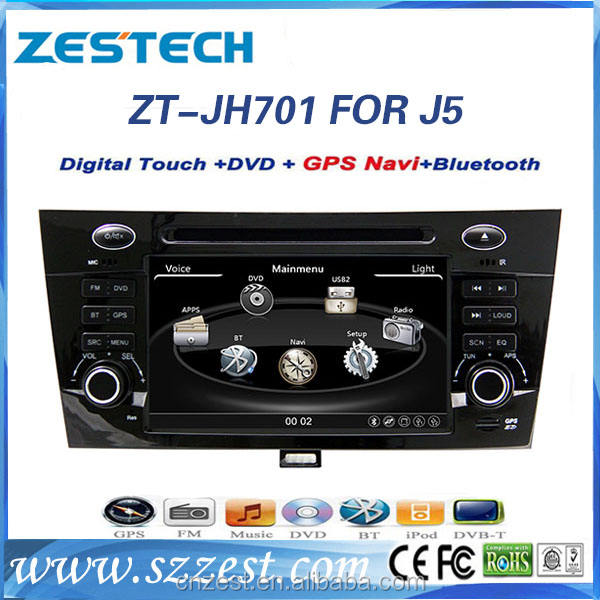 Zest 2 din in dsah touch screen car dvd player for JAC J5 with radio gps cd tv 3g