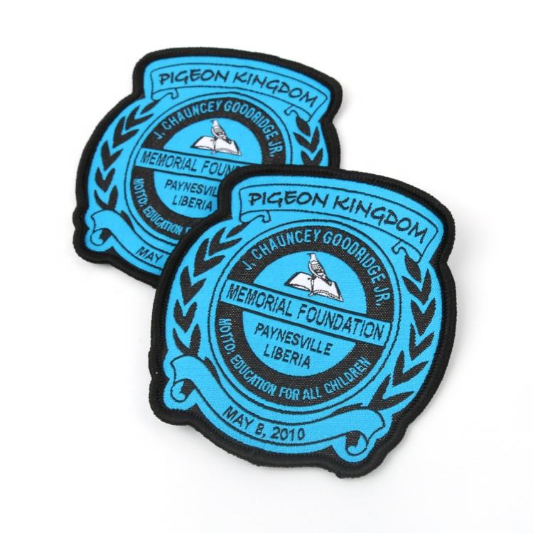 Cheap Textile Iron on Badges Customized Stylish School Name Logo Machine Woven Blue Patches for Uniforms