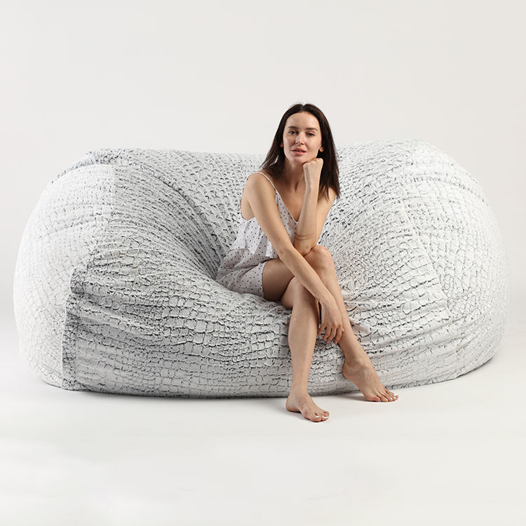 Stone Fur Foamsac Faux Fur Bean Bag Chair Cover/Beanbag Chair