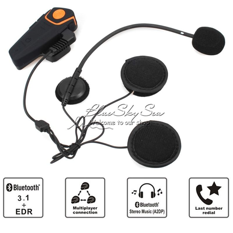BT Interphone Bluetooth1000m Intercom Motorhelm Headset FM Radio BT-S2