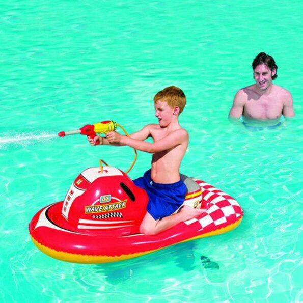 Factory Hot sale bestway 41070 water sports beach toys inflatable red motorboat pool float with water play gun for children