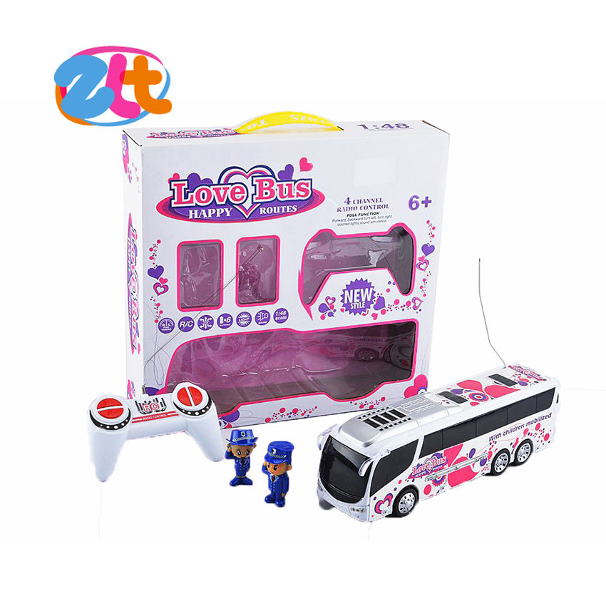 Pink Model Cartoon Toy Tour Bus, 4CH Remote Control Bus Toy With 2 Police Dolls