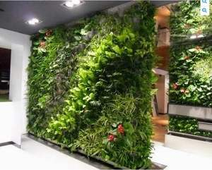 Las plantas artificiales más vendidas pared de plástico vertical plantas pared interior césped artificial de decoración de pared