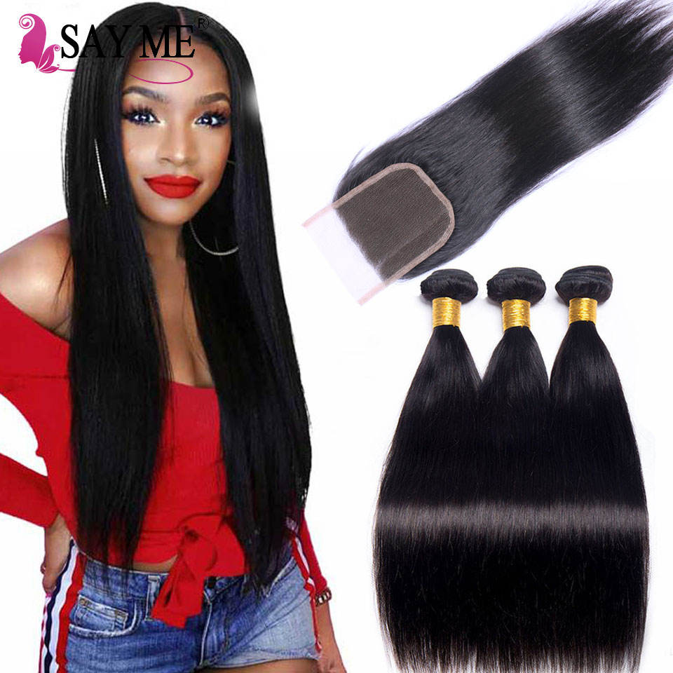 Peruvian Straight Hair Weaves Bundles with Closure Free Middle 3 Part 8A Quality Double Weft Human Hair Extensions Dyeable Remy