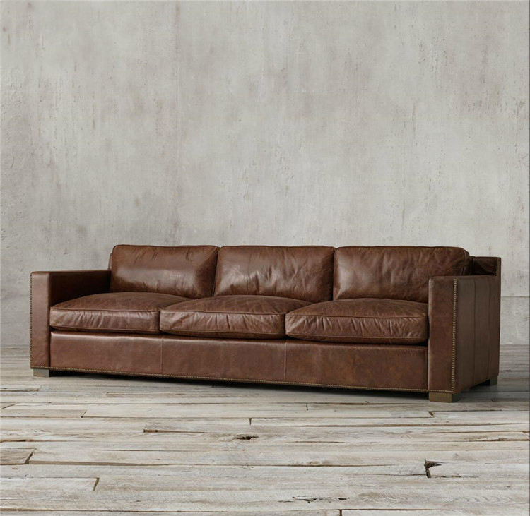 Heated Top Quality Leather 3 Seaters Vintage Leather Sofa
