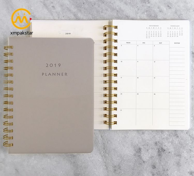 2020 Harde Papier Cover Custom Gold Spiraal Notepad Daily Planner Boek Organizer Notebook