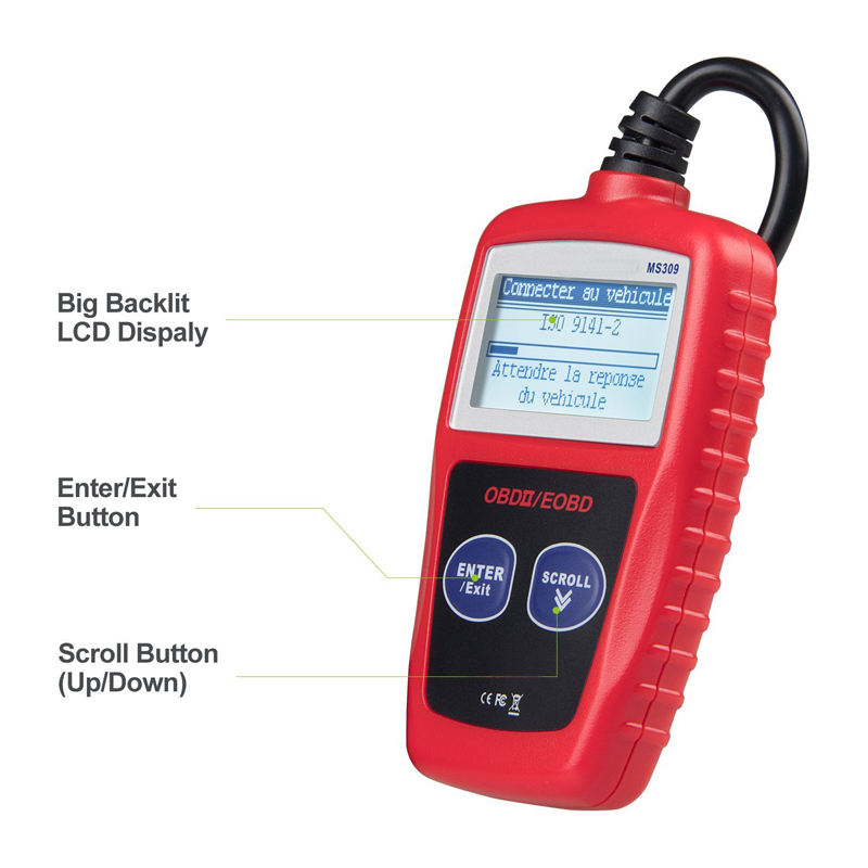 MS309 Auto diagnose Scanner elm327 OBD2 Code Reader voertuig OBD 2 Diagnostische Voertuig Tool