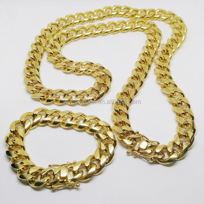 Mens Solid 18k yellow gold chain cuban link chains