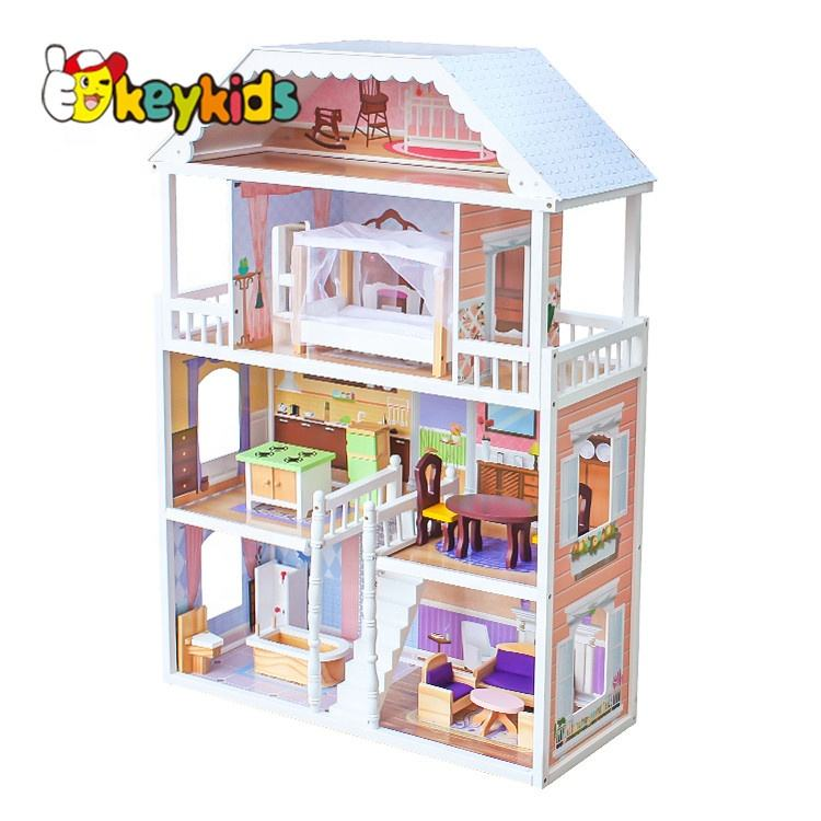 2019 Top sale large princess wooden dollhouse for wholesale W06A218