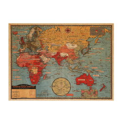 A map of the world paper kraft custom design and size for wall decoration world map