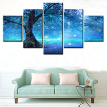 HD 5 Panel Fantasy night art wall on Canvas painting Printing starry tree pictures canvas oil painting for Living Room