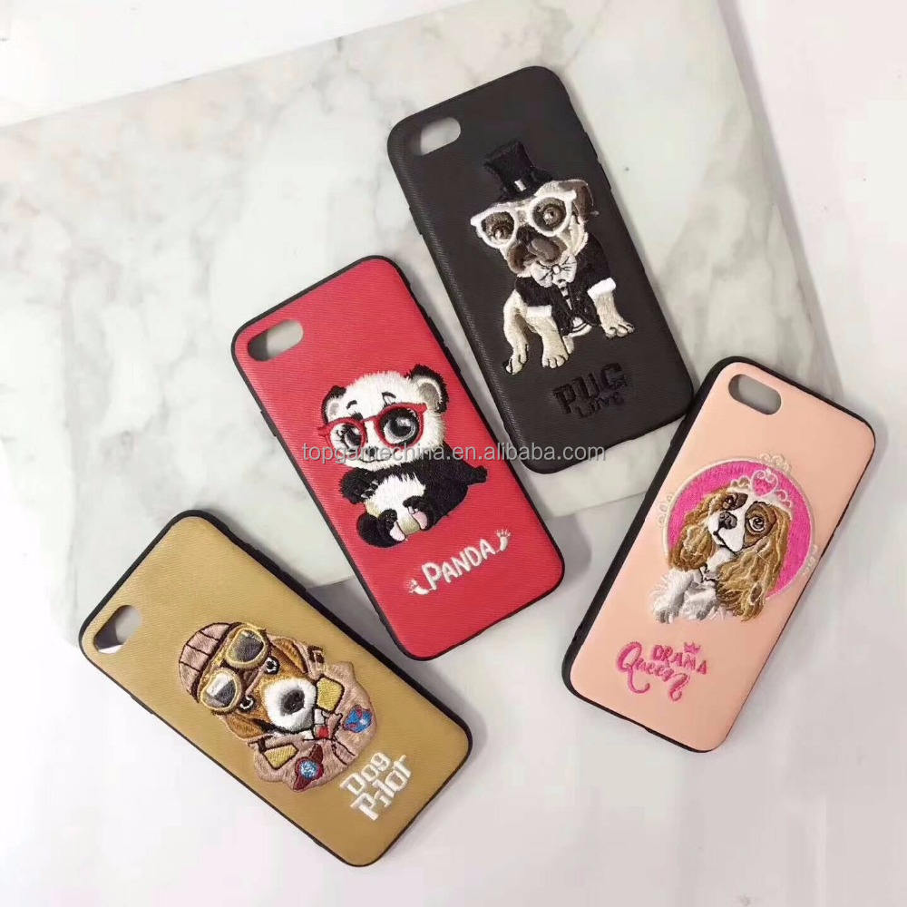 3D Stickerei Tier Teddy Mops Husky Haustier PC Abdeckung Fall Für iPhone X 6 6 s Plus 7 7 Plus 8 8 P Handy Fall Capa