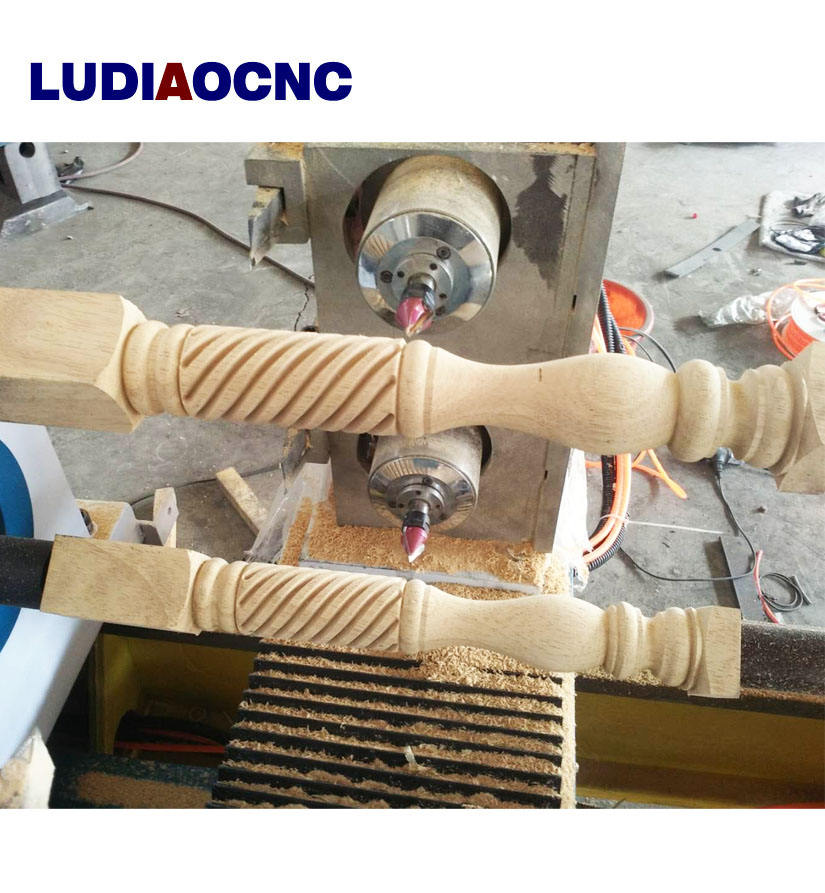 Jinan woodworking CNC wood turning lathe carving machine with spindle for staircase ,Rome column,baseball bat,chair legs