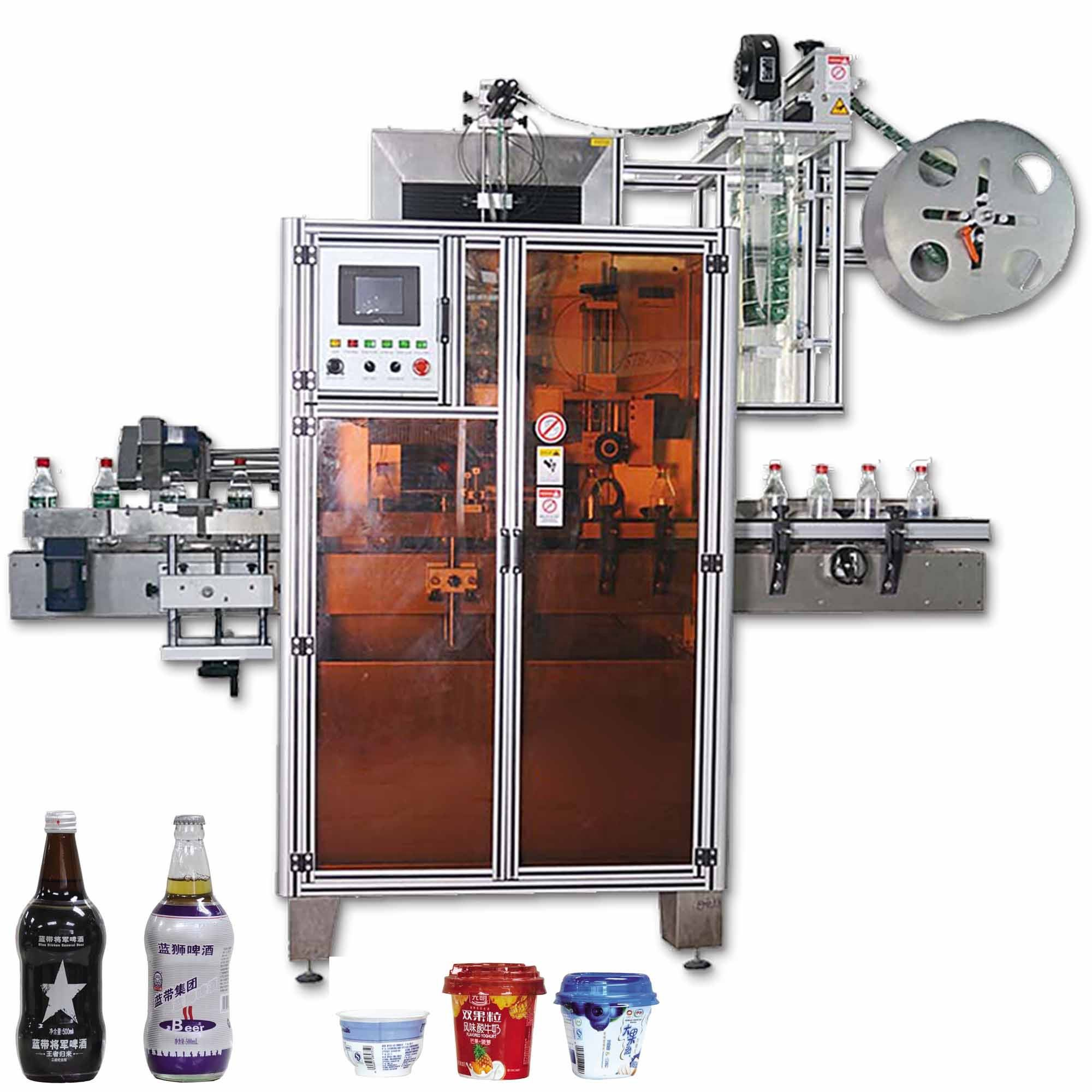 Automatic shrink sleeve printing labeling machine and filling machine bottle shrink sleeve labeling machine neck shrink label
