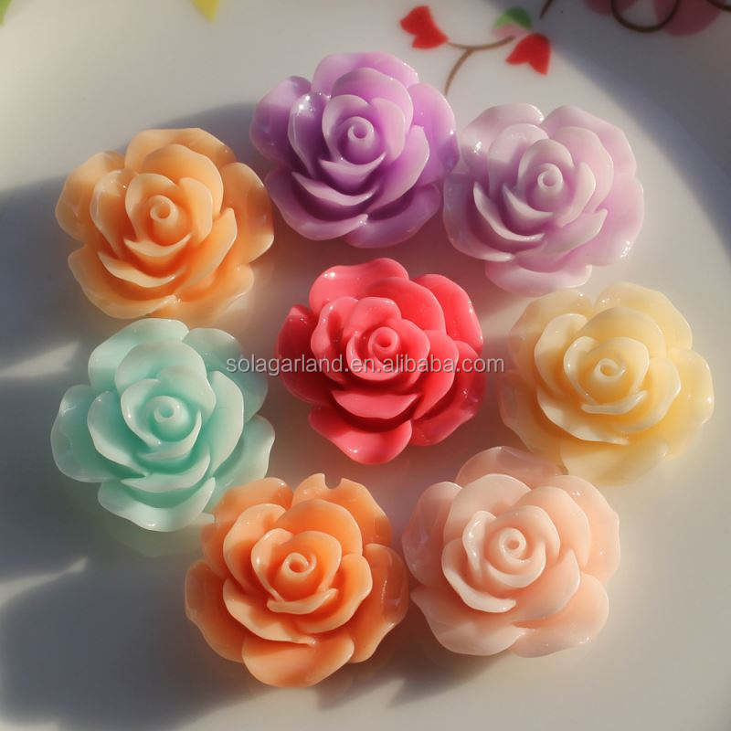 Various Size Mixed Rose Shape Resin Flower Flatback Cabochons For Phone Wedding DIY Craft