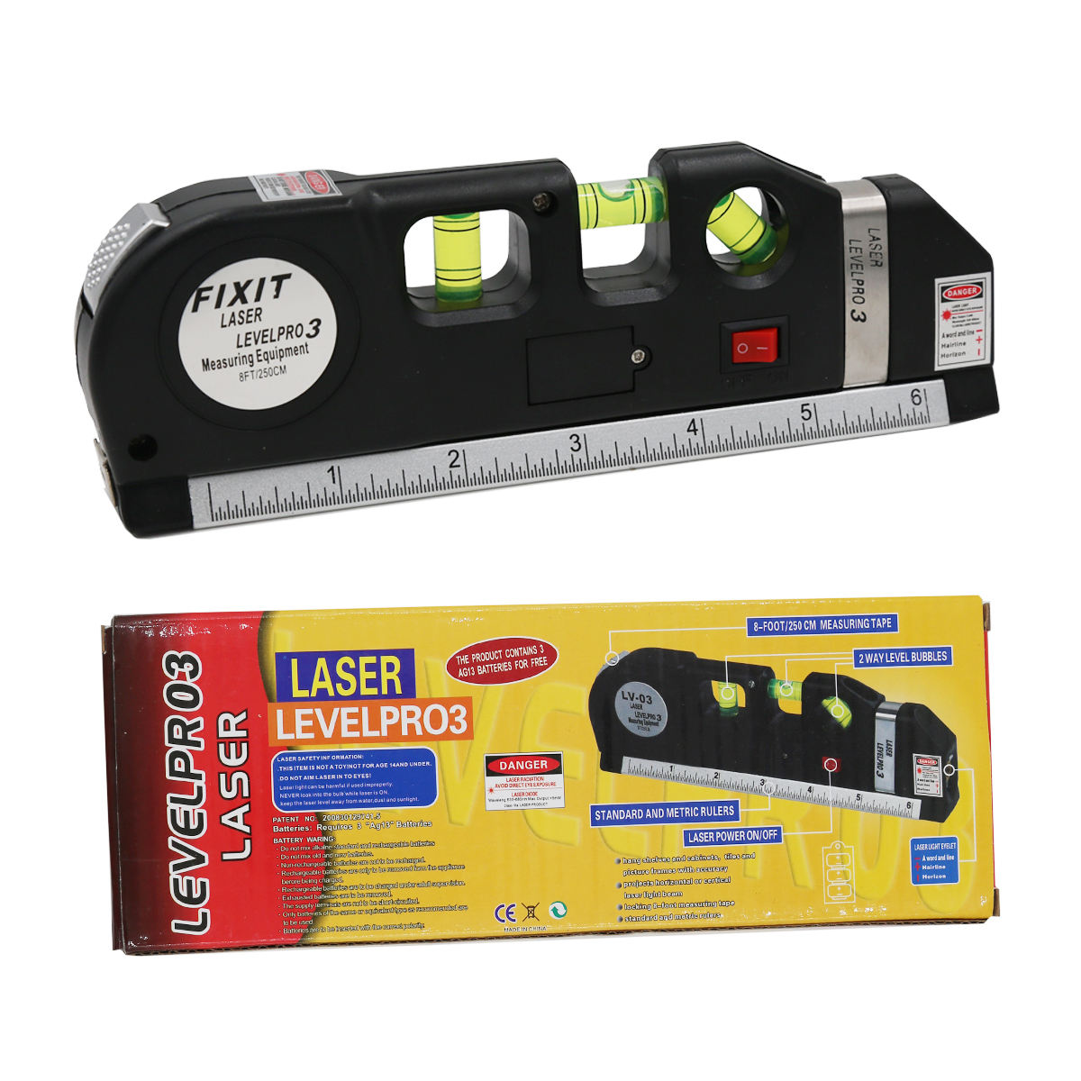 Laser Level Scale Horizon Vertical Measure 8FT Aligner Standard and Metric Ruler Multipurpose Measure Level Laser Meter Black
