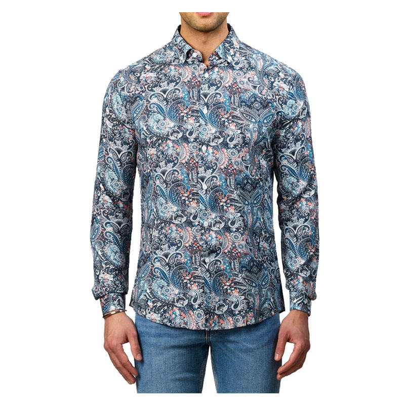 MJ TAILORED CUSTOMIZED LOW MOQ HIGH QUALITY MENS SCREEN PRINT PAISLEY DRESS SHIRT