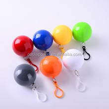 Fast delivery transparent ultrathin rain cover foldable raincoat PE clean disposable raincoat ball compressed raincoat